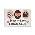 Peace Love Bearded Collie Rectangle Magnet