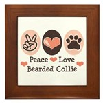 Peace Love Bearded Collie Framed Tile