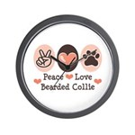 Peace Love Bearded Collie Wall Clock