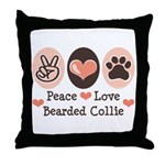 Peace Love Bearded Collie Throw Pillow