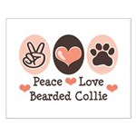 Peace Love Bearded Collie Small Poster