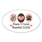 Peace Love Bearded Collie Oval Sticker