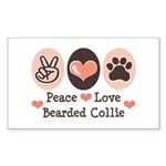 Peace Love Bearded Collie Rectangle Sticker