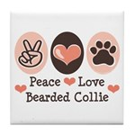 Peace Love Bearded Collie Tile Coaster