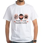Peace Love Bearded Collie White T-Shirt
