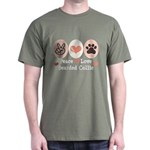 Peace Love Bearded Collie Dark T-Shirt