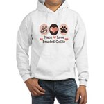 Peace Love Bearded Collie Hooded Sweatshirt