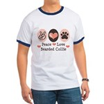 Peace Love Bearded Collie Ringer T