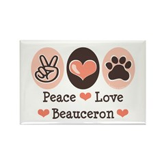 Peace Love Beauceron Rectangle Magnet (10 pack)