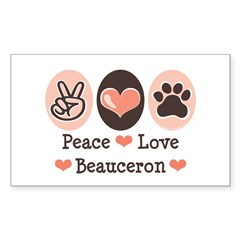 Peace Love Beauceron Rectangle Sticker