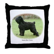 Russian Black Terrier Throw Pillow