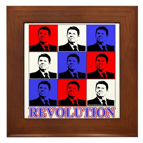 Reagan Revolution Pop Art Framed Tile