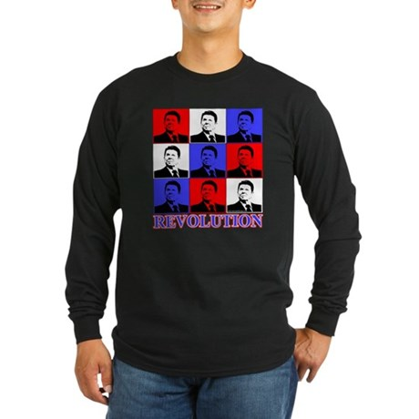 Reagan Revolution Pop Art Long Sleeve Dark T-Shirt