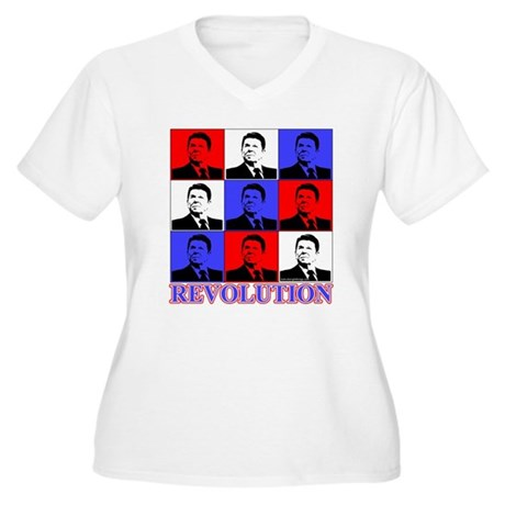 Reagan Revolution Pop Art Women's Plus Size V-Neck