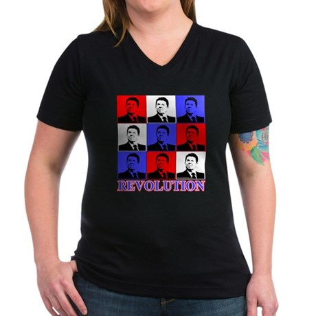Reagan Revolution Pop Art Women's V-Neck Dark T-Sh