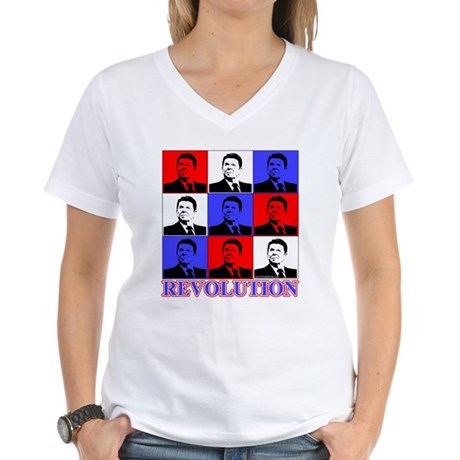 Reagan Revolution Pop Art Women's V-Neck T-Shirt