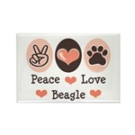 Peace Love Beagle Rectangle Magnet (100 pack)