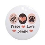Peace Love Beagle Ornament (Round)