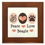 Peace Love Beagle Framed Tile