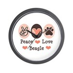 Peace Love Beagle Wall Clock