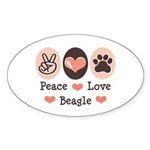 Peace Love Beagle Oval Sticker