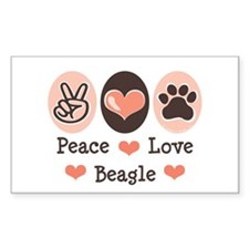 Peace Love Beagle Rectangle Decal