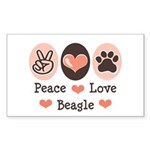 Peace Love Beagle Rectangle Sticker