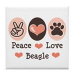 Peace Love Beagle Tile Coaster