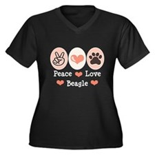 Peace Love Beagle Women's Plus Size V-Neck Dark T-