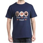 Peace Love Beagle Dark T-Shirt