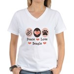 Peace Love Beagle Women's V-Neck T-Shirt