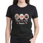 Peace Love Beagle Women's Dark T-Shirt