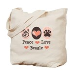 Peace Love Beagle Tote Bag