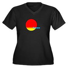 Savana Women's Plus Size V-Neck Dark T-Shirt