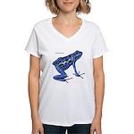 Blue Poison Frog Women's V-Neck T-Shirt