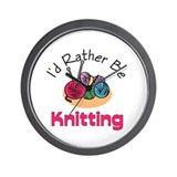 I'd Rather Be Knitting Wall Clock