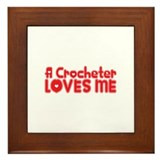 A Crocheter Loves Me Framed Tile