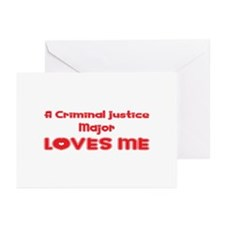 A Criminal Justice Major Loves Me Greeting Cards (