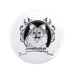 "Pomeranian 3.5"" Button (100 pack)"