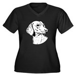 Dachsund Women's Plus Size V-Neck Dark T-Shirt