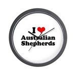 I Love Australian Shepherds Wall Clock