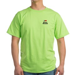 I Love Basset Hounds Green T-Shirt