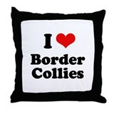 I heart Border Collies Throw Pillow