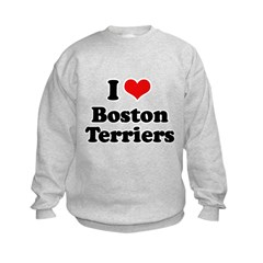 I heart Boston Terriers Kids Sweatshirt