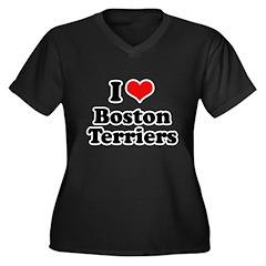 I heart Boston Terriers Women's Plus Size V-Neck D