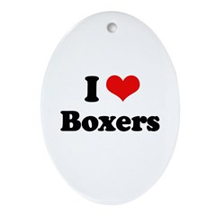I Love Boxers Oval Ornament