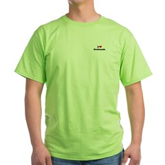 I Love Dachsunds Green T-Shirt