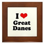 I Love Great Danes Framed Tile