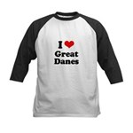 I Love Great Danes Kids Baseball Jersey