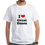 I Love Great Danes White T-Shirt